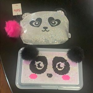 Justice panda bag and pencil box